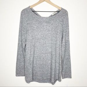 Promesa Gray Twisted Open Back Crew Neck Sweater